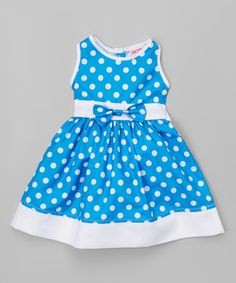 Look at this #zulilyfind! Blue Polka Dot Sleeveless Dress - Infant, Toddler & Girls #zulilyfinds