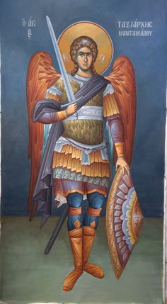 Icon of Archangel Michael the Taxiarch of Mandamados ( source ) Rejoice with us, all you commanders of the Angels, for your leader. Religious Icons, Religious Art, Angel Warrior, Byzantine Icons, Saint Michel, Angels Among Us, Catholic Art, Orthodox Icons, St Michael