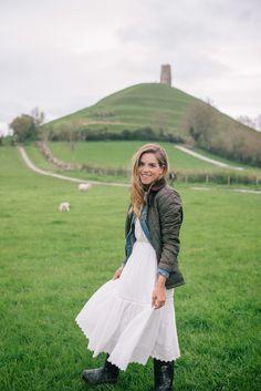 Gal Meets Glam Glastonbury Tor - Rebecca Taylor dress, Madewell denim jacket, Ralph Lauren jacket, and Hunter Boots