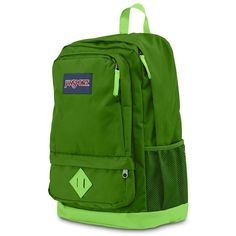 JanSport All Purpose 15-in. Laptop Backpack ($50) ❤ liked on Polyvore featuring bags, backpacks, green, water bottle backpack, green backpack, day pack backpack, laptop rucksack and padded pouch