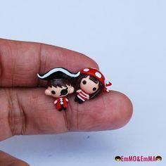 Pirate earrings  cute earrings  couple earrings by emmoandemma, ฿450.00