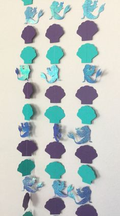 1 Little Mermaid Iridescent Purple and Teal Clam Shell Garland Streamer