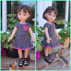 Muñeca Paola Reina con vestido de crochet con corazón.