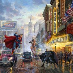 Thomas Kinkade Studios Batman In Wonder Woman 10 X 14 Wrap Canvas Fragrant Flavor Superman