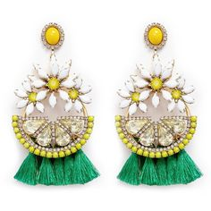 Elizabeth Cole 'Lemondrops' Swarovski crystal tassel earrings ($422) ❤ liked on Polyvore featuring jewelry, earrings, sunflower earrings, swarovski crystal stud earrings, hoop earrings, hawaiian jewelry and hawaiian earrings