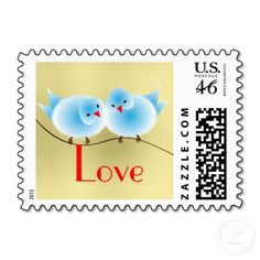 "Cute Fluffy Blue and Red Love Birds on Gold Postal stamps.  A lovely pair of fluffy love birds in blue and red they look so cute with a gold colored background and the word ""Love"" in red."