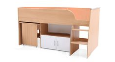 """Sherry  Comprises of one pullout study desk, open compartment in between and closed compartment at the bottom. Overall size: 74""""x38""""x36"""" mattress size: 72""""x36"""". All 18mm prelaminated particle board Rs.21,000/- including delivery all over India For buyers needing higher strength, 25mm boards can be used for sides, upper side supports and rest in 18mm. Price: Rs.25,000/- Disptach in 15 days after receipt of payment. visit http://kidsfurnitureworld.in/bunk-beds.html"""