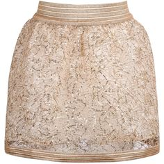 SheIn(sheinside) Gold Zipper Sequined Lace Skirt (€14) ❤ liked on Polyvore