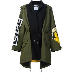 Moschino oversize patchwork parka ($2,540) ❤ liked on Polyvore featuring outerwear, coats, jackets, oversized coat, green parka, green coat, long sleeve coat and green parka coat