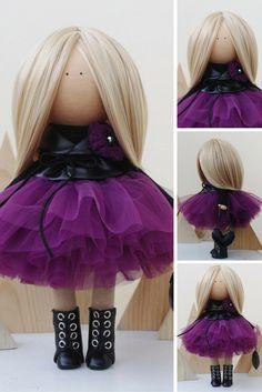 Fabric doll Nursery doll Tilda doll Textile doll Handmade doll Purple doll Rag doll Art doll Baby doll Unique doll Soft doll by Margarita