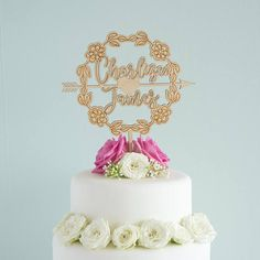 First name cake topper. Engagement Cakes, Wedding Engagement, Wedding Day, Wedding Cake Toppers, Wedding Cakes, Floral Wreath, Birthday Cake, Make It Yourself, How To Make