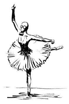 Image via We Heart It #art #ballerina #ballet #blackandwhite #doodle #drawing #gas #mask