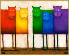 Bright & colorful, painting like this from Daniel Kessler are some of my favorites! You can see the full collection at http://www.kesslerart.com/cats_and_dogs.html