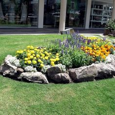 Simple Yet Pretty Rock Garden As A Centerpiece Of The Backyard Garden With Rocks Hedging The Flower Bed , Bring More Beautiful Natural Touch to Your Garden By Applying Beautiful Rock Garden Design In Outdoor Category