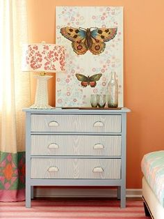 Cover the drawers with faux wood paneling