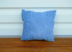 Denim and Solid Blue Small Travel Pillow by lovelylovedesigns, $5.99