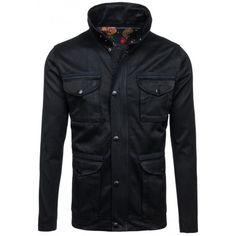 Černá přechodná větrovka pánská - manozo.cz Nasa, Leather Jacket, Denim, Jackets, Fashion, Colors, Studded Leather Jacket, Moda, Fashion Styles