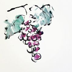 """""""Juicy Cluster"""" a Sumi-e  #painting.  www.lilithohan.com"""