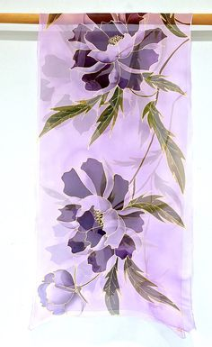 Hand Painted Silk Scarf Large Silk Scarf Bridal Chiffon Chiffon Shawl, Silk Shawl, Silk Chiffon, Violet Pastel, Traditional Japanese Kimono, Painted Silk, Hand Painted, Purple Peonies, Purple Hands