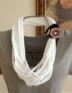 White short scarf with navy band and pink by gwenandferolscloset, $25.00