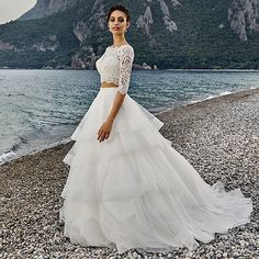 Vintage Beach Wedding Dress With Half Sleeves Two Pieces Summer Country Western Bridal Gowns Lace Abiti da sposa Z686