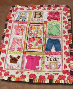 Beautiful baby clothes quilt with ruffle binding. Found on a discussion board on sewmamasew.com by a user named sugarscrap.  1. quilt the quilt leaving 2-3 inches away from border edge. 2. make ruffle. 3. pin ruffle between the quilt top and back then stitch together. 4. quilt in the open area. 5. sew decorative edge on ruffle to reinforce seems.