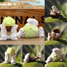 Miniature Dollhouse Fairy Gnome Garden Bunnies Rabbitt Walnut Decoration