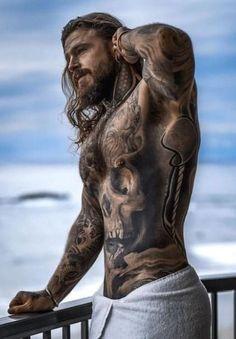 Sexy Tattooed Men, Bearded Tattooed Men, Bearded Men, Tatted Men, Hot Guys Tattoos, Just Beautiful Men, Gorgeous Guys, Viking Beard, Inked Men
