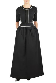 eShakti Women's CUSTOM Contrast trim poplin maxi dress 3X-24W Black/off-white