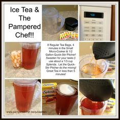 Simple and Quick!! Just add your teabags and water in your Small Micro-Cooker and set time for 4 minutes! Let stand for 5 minutes to finish steeping and pour into your water-filled Quick-Stir Pitcher. Add your sweetener and stir.