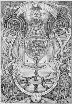 Alchemical Drawings by David Chaim Smith. Inchoate maps of the un-mappable places of Original Creation involving mad dances through words and sacred geometries, biomorphic and astral thought forms, incantations and exhortations.