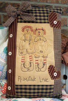 Primitive Love Stitchery Pillow $3.51