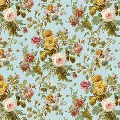 Vintage Shabby Pink roses with blue and yellow flowers on pale pink. Description from pinterest.com. I searched for this on bing.com/images