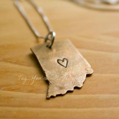 State or country Heart or Love Necklace in Bronze map United states California. $42.00, via Etsy.