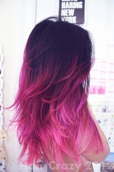 Dark brown to pink ombre for breast cancer awareness month.