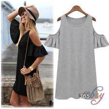 Womens Summer Vintage Off Shoulder Long Blouse Tops Shirt Mini Dress T-shirt