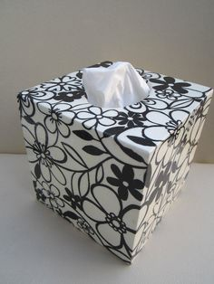 Flower Wooden Tissue Box Cover Decoupage by Jurosihandmade