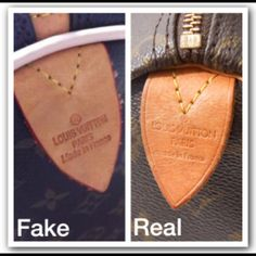 How to Authenticate Louis Vuitton Stitching Louis Vuitton stitching is an easy way to tell if a bag is real. The real bag is on the right in the last pic. Stitching should be even. The same number of stitches will be found on the mirrored side. For example the leather tab that the handle attaches onto on any size monogram Speedy bag will always have 5 even stitches across each top. Each LV is hand made perfectly. No excuse for bad stitches. Please see my listing about heat stamps. This is…