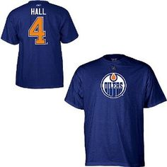 Edmonton Oilers Taylor Hall Blue Name and Number T-Shirt Blue Names a1c14f75d