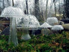 toadstools made from thrift store glass