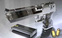 Desert Eagle 44 magnum (Not usually a fan of nickel-plated sissy pistols but this one stood out. Home Defense, Self Defense, Rifles, Desert Eagle, Survival, Fire Powers, Custom Guns, Cool Guns, Guns And Ammo