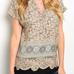 """BEAUTIFUL BLACK AND CREAM LACE PRINT TOP Short sleeve top with a gorgeous print!! It is v-neck and short sleeve and feminine and so beautiful. 100% polyester. Small:  L25"""" B19"""" W18"""" S - 2 M - 1 L - 2 Please comment size needed below.  PLEASE DO NOT BUY THIS LISTING. Allow me to make your separate listing for you or help you make a bundle ❤️.  NO PAYPAL NO TRADES. Price is firm unless bundled. Tops"""
