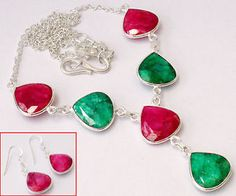 A perfect combination of red ruby and emerald is represented here in a stylish design of sterling silver necklace and earrings..!!  #jewelexi  #earrings  #silverearrings  #silvernecklace  #necklace  #jewelryset  #red  #ruby  #emerald  #stylish  #jewelry  #silverjewelry  #online  #jewelrystore