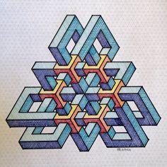 Matemolivares Graph Paper Drawings, Graph Paper Art, Isometric Drawing, Isometric Design, Geometric Mandala, Geometric Shapes, Escher Art, Impossible Shapes, Art Tumblr
