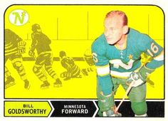 O-Pee-Chee Bill Goldsworthy Front Minnesota North Stars, Wayne Gretzky, Hockey Games, Trading Card Database, Nhl, 1930s, Legends, Eagle, Baseball Cards