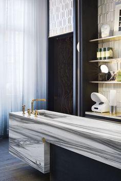 Baños originales /Diseño baño / lavabos baño: #Encimera de mármol para este #lavabo.