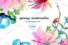 Spring watercolor by luchioly on @creativemarket