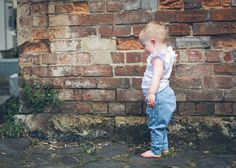 Little Sophie wearing Fable Baby organic cotton Frill Singlet (AUD$39) and Blue Spot Pants (AUD$49)