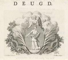 Jacob Folkema | Vignet met de personificatie van Deugd, Jacob Folkema, 1723 - 1767 | Vignet met de beeltenis van de gepersonifieerde Deugd in een ovaal dat omgeven wordt door palmtakken en engelen. De Deugd is uitgerust met een helm, schild en zwaard en wordt door een engel gelauwerd. In haar rechterhand houdt de Deugd een pijl vast, bij haar voet ligt een rijksappel. De prent maakt deel uit van een reeks boekillustraties over deugden en ondeugden.