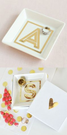 ideas for diy jewelry dish bridesmaid gifts Monogram Ring Dish, Monogram Jewelry, Monogram Gifts, Monogram Decal, Personalised Jewellery, Diy Homemade Rings, Diy Jewellery Dish, Fashion Jewellery, Diy Wedding Gifts
